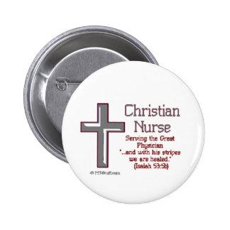 Christian Nurse Cross2 6 Cm Round Badge