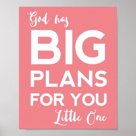 Christian Nursery Poster | God Has Big Plans