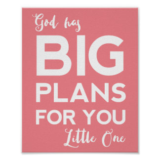 Christian Nursery Print   God Has Big Plans