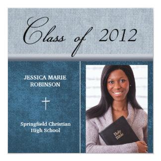 Christian Parochial School Photo Graduation Blue 13 Cm X 13 Cm Square Invitation Card