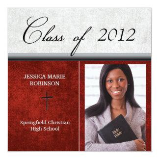 Christian Parochial School Photo Graduation Red 13 Cm X 13 Cm Square Invitation Card