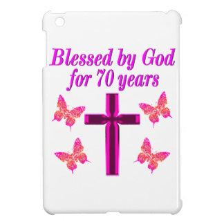 CHRISTIAN PINK 70TH BIRTHDAY CROSS DESIGN iPad MINI CASE