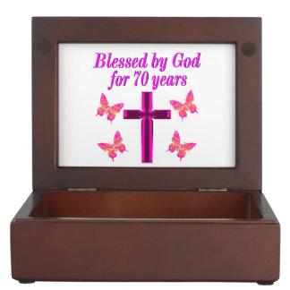 CHRISTIAN PINK 70TH BIRTHDAY CROSS DESIGN KEEPSAKE BOX