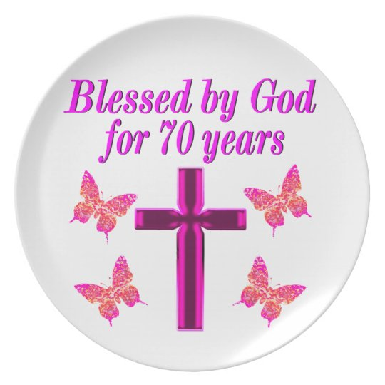 CHRISTIAN PINK 70TH BIRTHDAY CROSS DESIGN PLATE