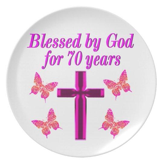 CHRISTIAN PINK 70TH BIRTHDAY CROSS DESIGN PLATE