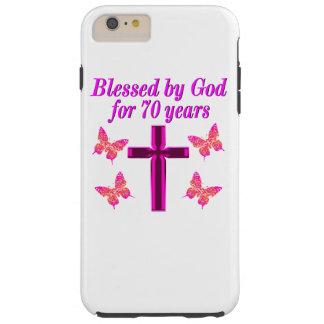 CHRISTIAN PINK 70TH BIRTHDAY CROSS DESIGN TOUGH iPhone 6 PLUS CASE
