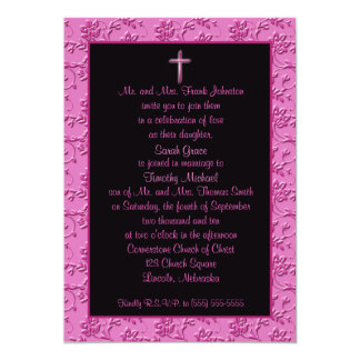 Christian Pink and Black Cross Wedding Invitation