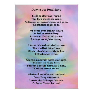 Christian poem: Duty to our Neighbors Poster