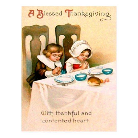Christian Prayer Puritan Thanksgiving Dinner Postcard