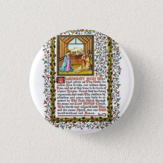 Christian Prayer With Nativity 3 Cm Round Badge