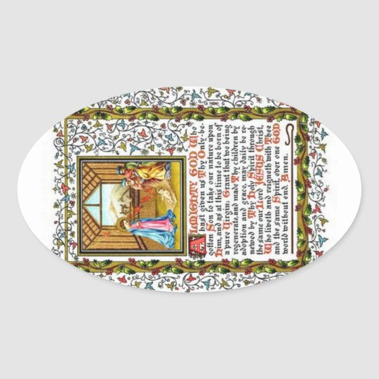 Christian Prayer With Nativity Oval Sticker