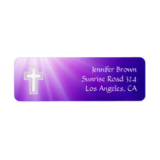 Christian | Purple Rays Return Address Label