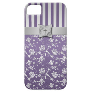 Christian Purple Silver Floral Stripes iPhone 5 iPhone 5 Case