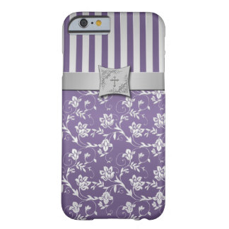 Christian Purple Silver Floral Stripes iPhone 6 ca Barely There iPhone 6 Case