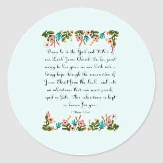 Christian Quote Art - 1 Peter 1:3-4 Round Stickers