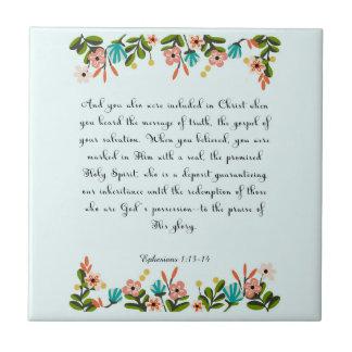 Christian Quote Art - Ephesians 1:13-14 Tile
