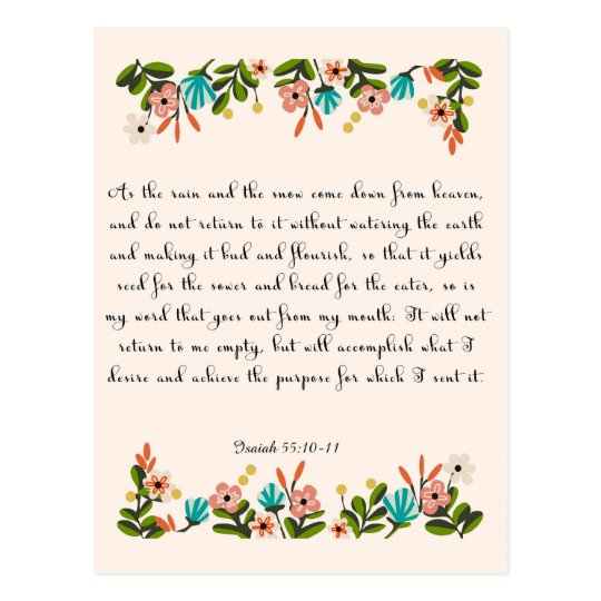 Christian Quote Art - Isaiah 55:10-11 Postcard