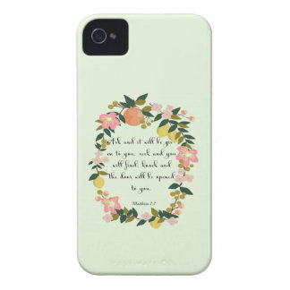 Christian Quote Art - Matthew 7:7 iPhone 4 Case
