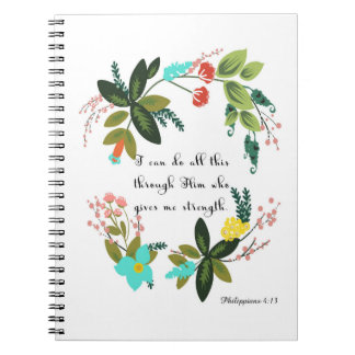 Christian Quote Art - Philippians 4:13 Notebooks