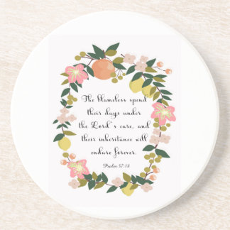 Christian Quote Art - Psalm 37:18 Beverage Coaster