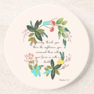 Christian Quote Art - Psalm 5:12 Drink Coaster