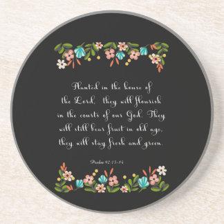 Christian Quote Art - Psalm 92:13-14 Sandstone Coaster