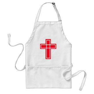 Christian red and white cross on an apron