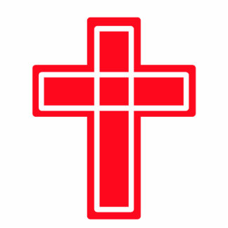 Christian red and white cross photo sculpture