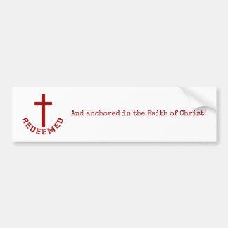 Christian Redeemed Red Cross and Text Design Bumper Sticker