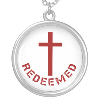 Christian Redeemed Red Cross and Text Design Round Pendant Necklace