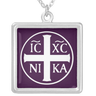 Christian Religious Icon Christogram ICXC NIKA Silver Plated Necklace