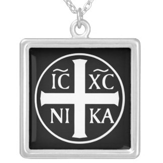 Christian Religious Icon ICX NIKA Orthodox Silver Plated Necklace