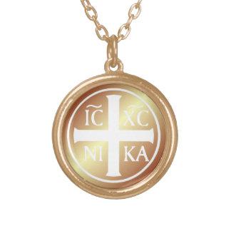 Christian Religious Icon ICXC NIKA Christogram Gold Plated Necklace