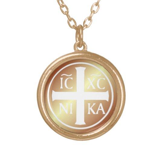 Christian Religious Icon ICXC NIKA Christogram Gold Plated