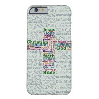 Christian Religious Word Art Cross Barely There iPhone 6 Case