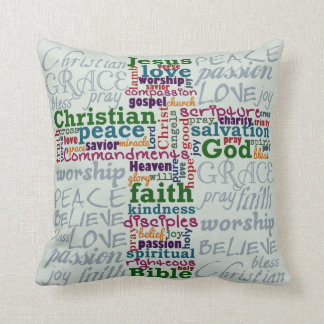 Christian Religious Word Art Cross Cushion