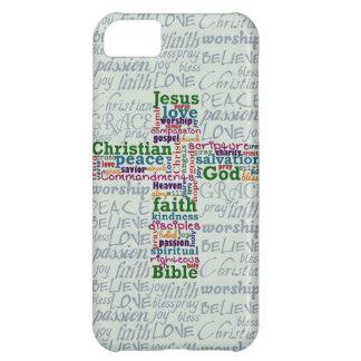Christian Religious Word Art Cross iPhone 5C Case