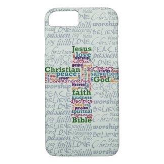 Christian Religious Word Art Cross iPhone 7 Case