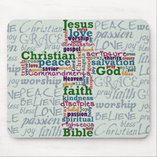 Christian Religious Word Art Cross Mouse Pad