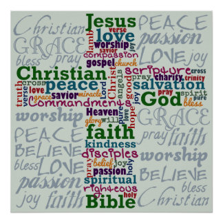 Christian Religious Word Art Cross Poster