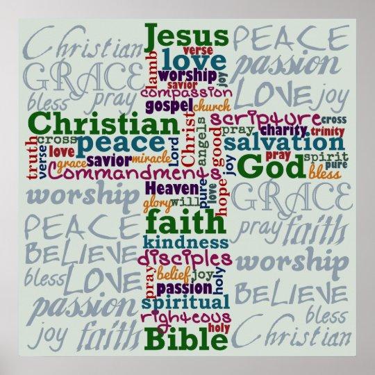 Christian Religious Word Art Cross Poster