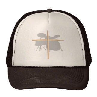 Christian Rock Drummer Drum Stick Cross Hat