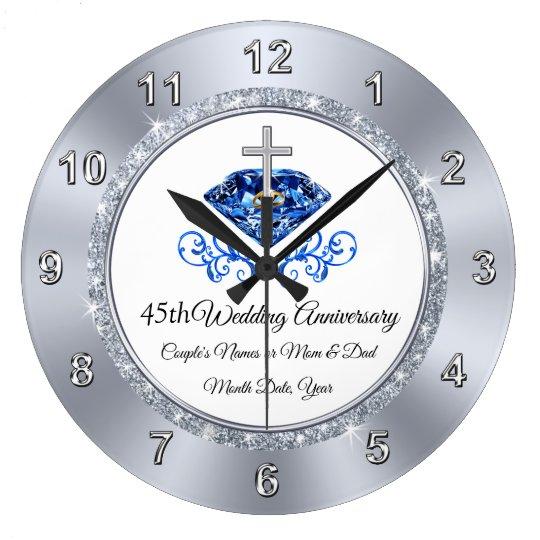 Christian Sapphire 45 Year Anniversary Gift Ideas Large Clock Zazzle Co Uk