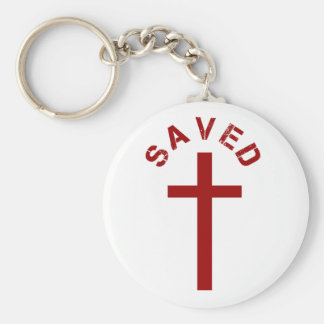 Christian Saved Red Cross and Text Design Basic Round Button Key Ring