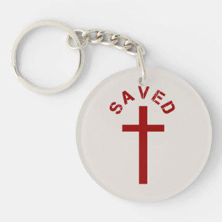 Christian Saved Red Cross and Text Design Double-Sided Round Acrylic Key Ring