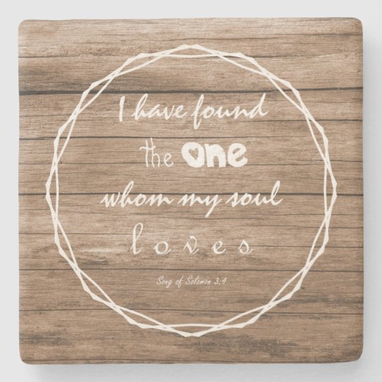 Christian Saying Rustic Love Stone Coaster