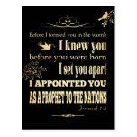 Christian Scriptural Bible Verse - Jeremiah 1:5 Postcard