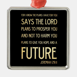 Christian Scriptural Bible Verse - Jeremiah 29:11 Silver-Colored Square Decoration