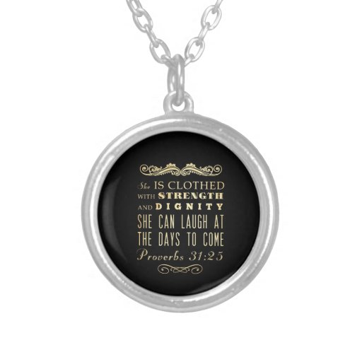 Christian Scriptural Bible Verse - Proverbs 31:25 Personalized Necklace