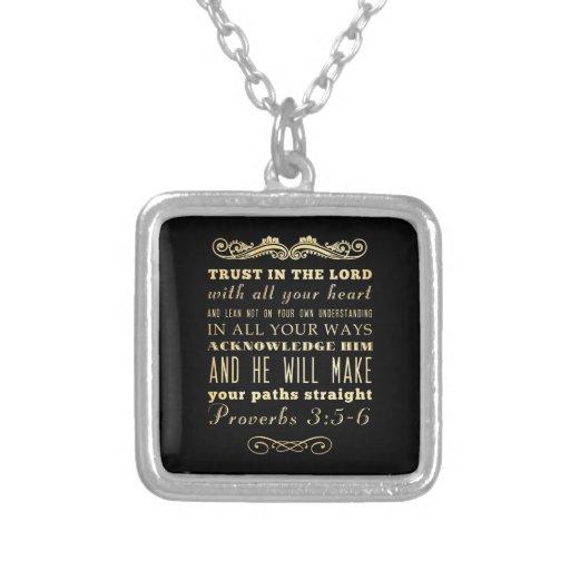 Christian Scriptural Bible Verse - Proverbs 3:5-6 Custom Necklace